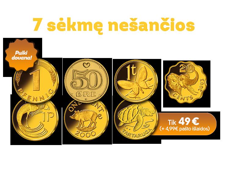 """Monetų rinkinys """"7 sėkmę nešančios monetos"""""""
