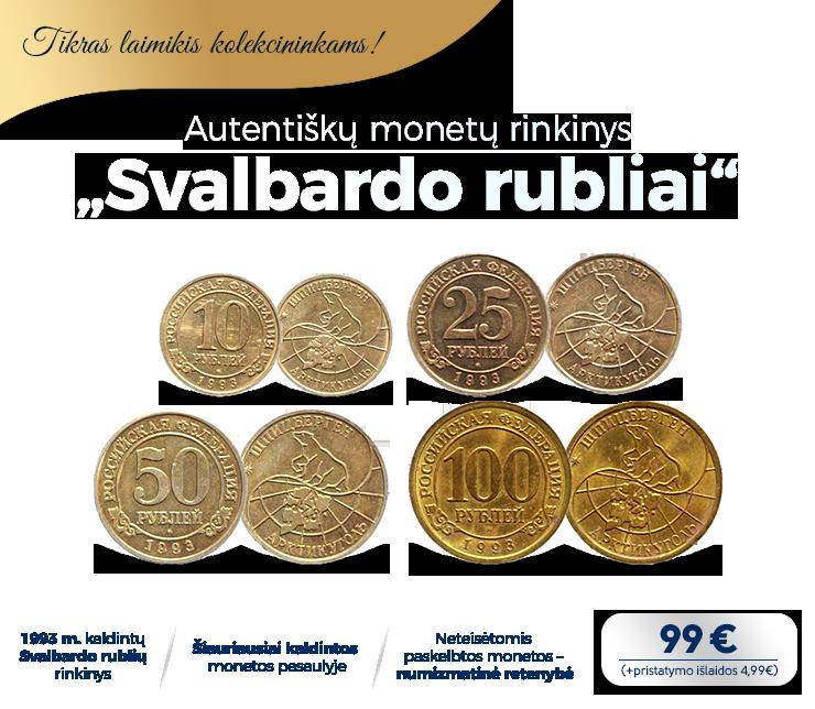"""Autentiškų monetų rinkinys """"Svalbardo rubliai"""""""