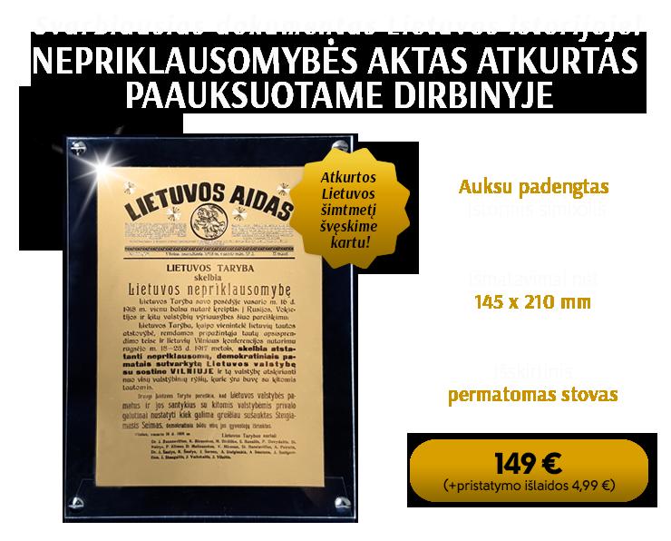 Paauksuotas Lietuvos nepriklausomybės simbolis