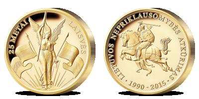 """Paauksuotas medalis """"Lietuvos Nepriklausomybės atkūrimui 25 metai"""""""