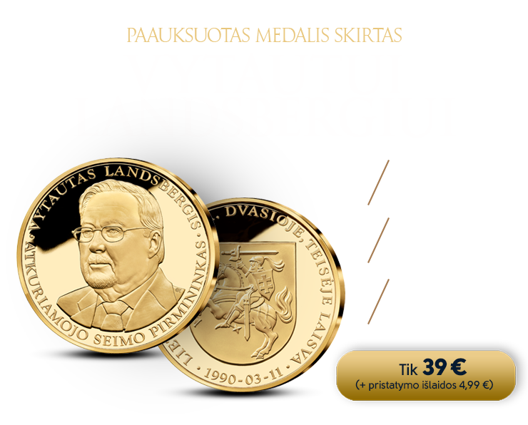 Paauksuotas medalis, pagerbiantis Vytautą Landsbergį
