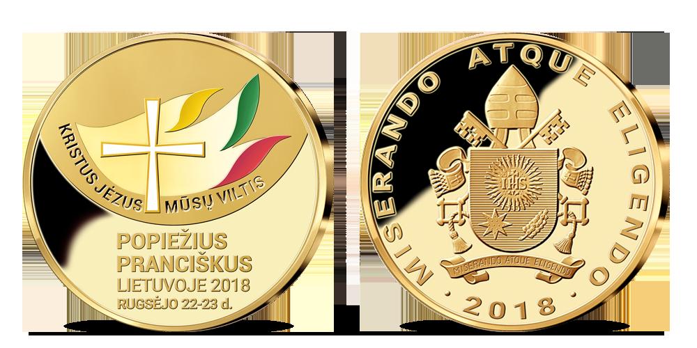 """Paauksuotas medalis """"Popiežius Pranciškus Lietuvoje"""""""