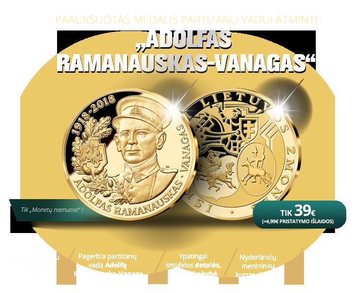 """Paauksuotas medalis """"Adolfas Ramanauskas-Vanagas"""""""