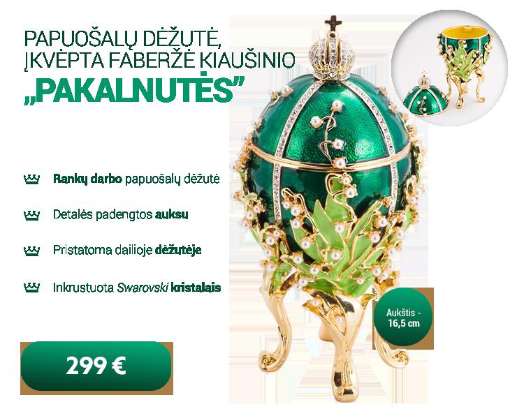Rankų darbo Faberžė kiaušinio formos papuošalų dėžutė