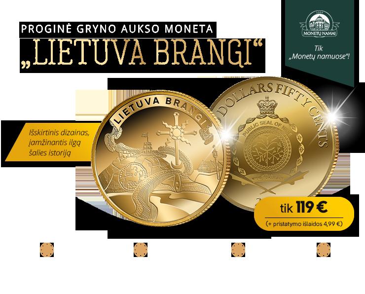"""Proginė gryno aukso moneta """"Lietuva brangi"""""""