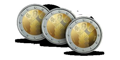 """Kolekcija """"Proginės 2 eurų monetos"""", pirmoji siunta - jubiliejinės šimtmečio Lietuvos, Latvijos ir Estijos 2 eurų monetos"""