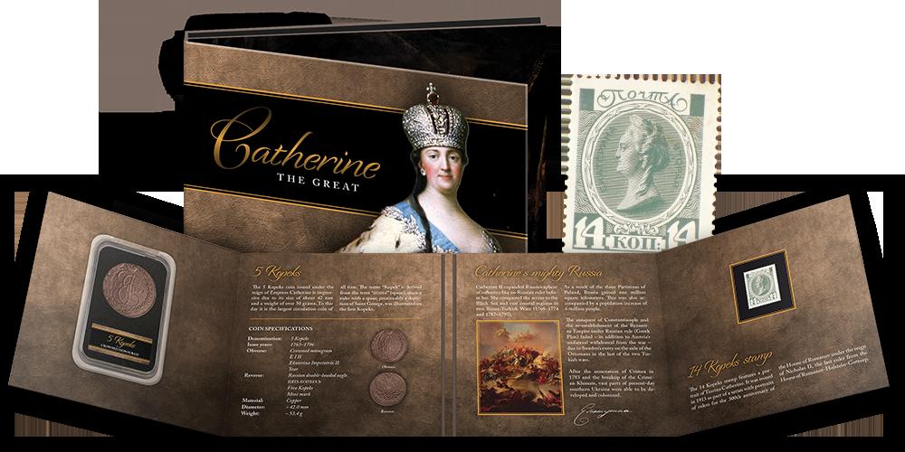 """Monetos ir pašto ženklo rinkinys """"Jekaterina II"""""""