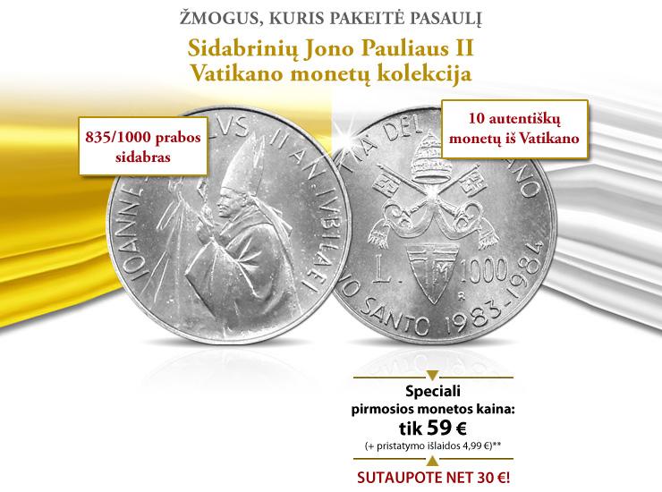 Sidabrinės Jono Pauliaus II-ojo Vatikano monetos