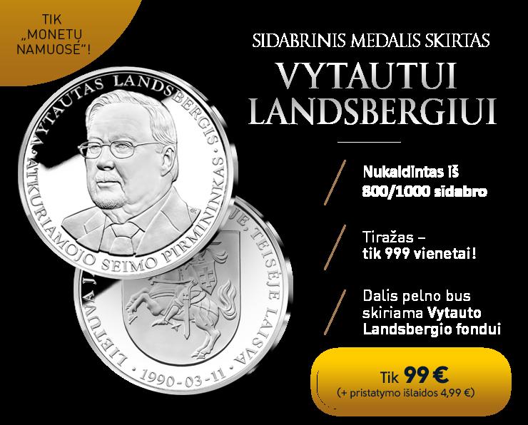 Sidabrinis medalis, pagerbiantis Vytautą Landsbergį