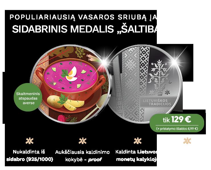 """Sidabrinis medalis """"Šaltibarščiai"""""""