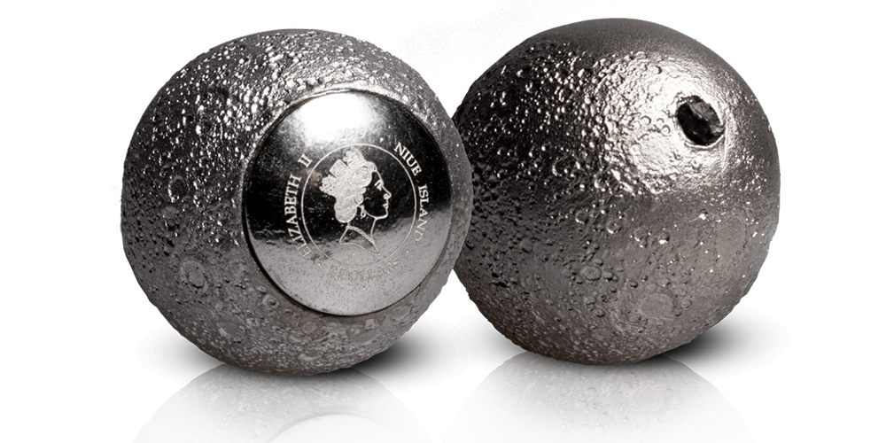 """Sidabro moneta """"3D Mėnulis"""""""