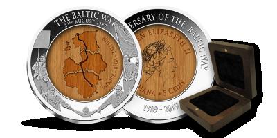 """Gryno sidabro moneta """"Baltijos keliui – 30 metų"""""""