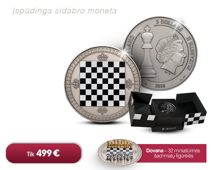 """Sidabro moneta """"Šachmatai"""""""