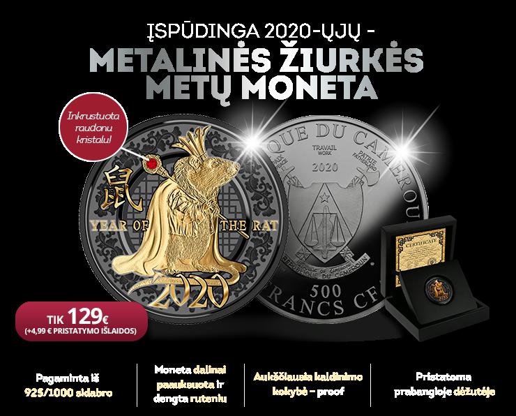 """Sidabro moneta """"Žiurkės metai"""""""