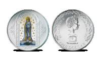 """Spalvomis ir sidabru dengta moneta """"Fatimos Švenčiausioji Mergelė Marija"""""""