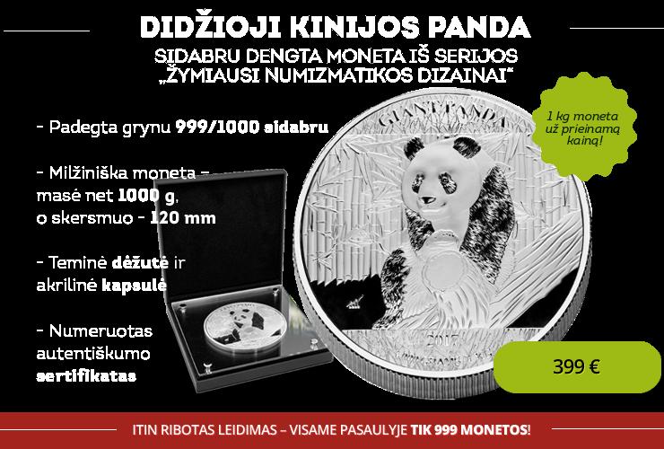 "Sidabru dengta 1 kg moneta ""Panda"""