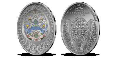 Grynu sidabru padengtas Velykinis kiaušinis