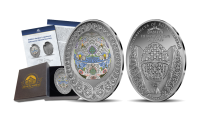 Grynu sidabru padengtas Velykinis kiaušinis dėžutėje