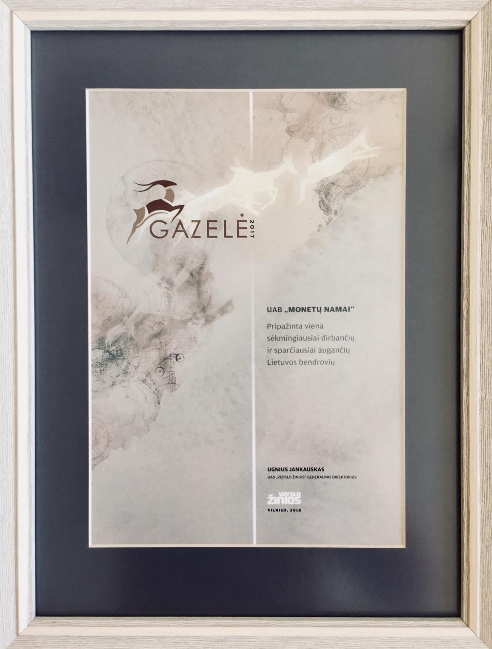 Gazelė 2017 Monetų namai