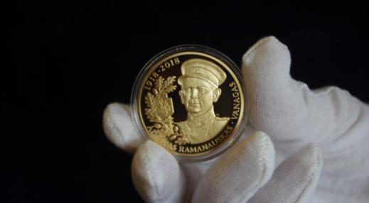 Išleistas paauksuotas medalis partizanų vadui Adolfui Ramanauskui-Vanagui atmint…