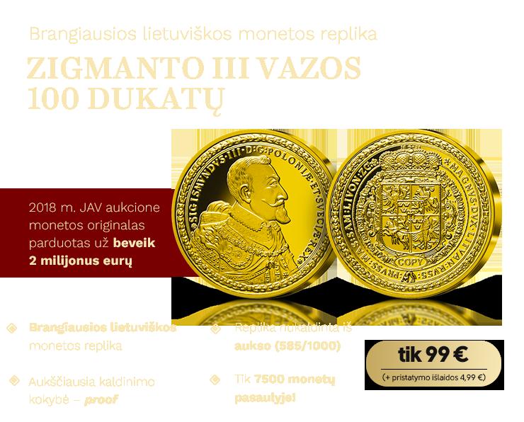 Zigmanto III Vazos 100 dukatų replika (0,65 g)
